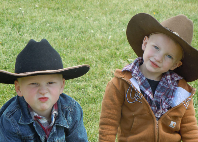 Young cowboys, our grandsons, Avery and Oliver. Our future wranglers and packers.